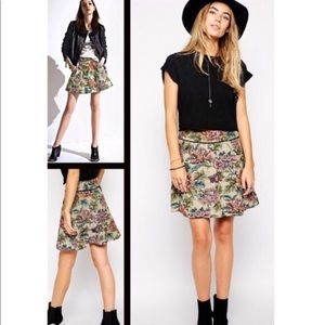 Free People Tapestry Mini Skirt Floral